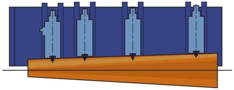 Linie debitare busteni si carucior hidraulic cu aliniere automata