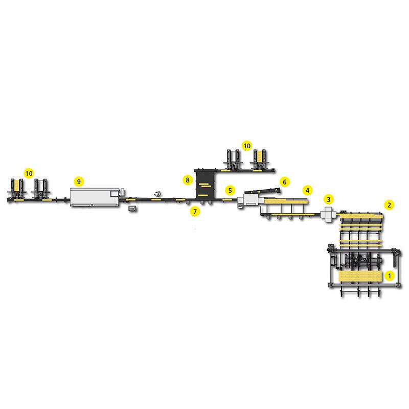 Instalație de retezare transversala și stivuire