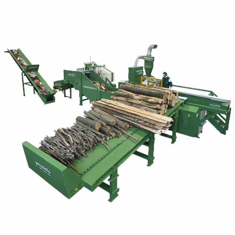 Linie despicat lemn foc cu canal solid pentru alimentare lemn cu grosimea de pana la 600mm si cu lungimea de maxim 3m Pezzolato
