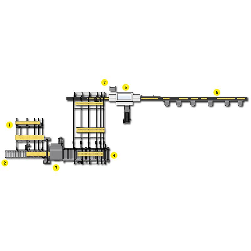 Sistem de spintecare si retezare lemn masiv